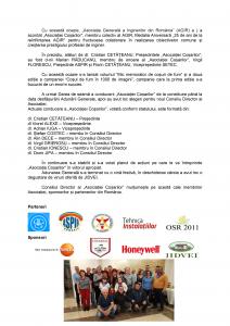 """Adunarea Generală a """"Asociației Coșarilor"""" din România"""